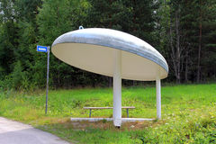 Bus Stop Shelter of Mushroom Shape Stock Images
