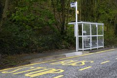 Bus stop shelter rural countryside uk public transport free travel pensioner senior person commute. Uk stock photos