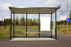 Bus Stop Shelter With Blank Billboard Stock Images