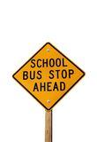 Bus Stop Sign. School bus stop ahead sign isolated on white Royalty Free Stock Photography