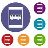 Bus stop sign icons set Royalty Free Stock Images