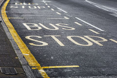 """Bus stop"" sign Stock Photo"