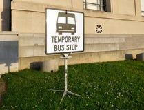 Bus stop sign. A temporary bus stop sign Royalty Free Stock Photos