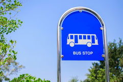 Bus stop sign. In thailand royalty free stock photography