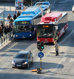 Bus stop at Slussen, Stockholm, Sweden Royalty Free Stock Photo