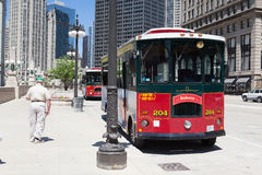 Bus stop station near the Wrigley building in Chicago. Stock Photography