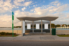 Bus stop station with white blank advertising panels Stock Photo
