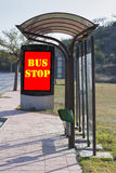 Bus stop. Bus stop in the street stock image
