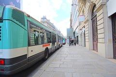 Bus  stop on the street of Paris Stock Image