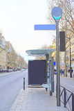 Bus  stop on the street of Paris Royalty Free Stock Images