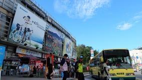 Bus stop, Sun Moon Lake, Taiwan. Sun Moon Lake(Chinese:日月潭;pinyin:Rìyuè tán;Pe̍h-ōe-jī:Ji̍t-goa royalty free stock image