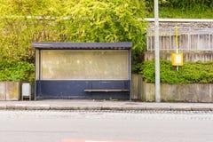 Bus Stop Sunny Empty Landscape Germany European City Urban Waiti Royalty Free Stock Photo