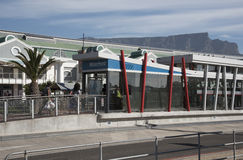 Bus stop  and Table Mountain Cape Town S Africa Stock Image