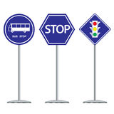 Bus stop and traffic dark blue sign design on white background. Stock Photo