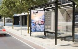 Bus stop travel advertising billboard. Bus stop travel advertising 3d rendering Royalty Free Stock Photos