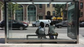 New York City Bus Stop stock video footage