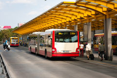 Bus stop at the Warsaw Central Station royalty free stock photography