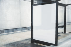Bus stop with white poster closeup Stock Photo