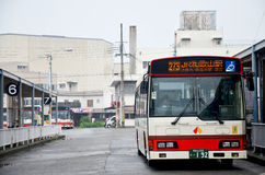 Bus stopping wait people at bus station front of wakayama railwa Stock Images