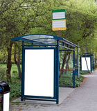 Bus stops. A high street view of some bus stops with blank bilboards for your advertising Stock Photo