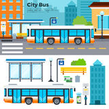 Bus on street in the city. Bus on the street in the town vector flat illustrations. View of modern street with a bus on the road, urban tools, bus, buildings stock illustration