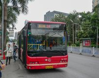 A bus on street of Nanning, China stock photography