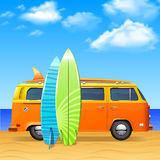 Bus With Surf Boards. Retro bus with surf boards on summer sea background vector illustration Royalty Free Stock Images