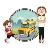 Bus teacher boy back to school design Stock Photos