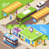 Bus Terminal Isometric Horizontal Banners Stock Images