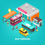 Bus Terminal Isometric Illustration. Bus terminal with building station public transport tourists and ticket office on turquoise background isometric vector Royalty Free Stock Images