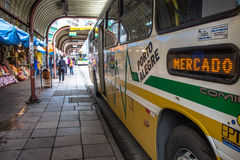 Bus Terminal. Porto Alegre, RS, Brazil, October 04, 2016. Bus and passengers inside the Parobe Bus Terminal, next to the Municipal Public Market, in downtown Stock Photography