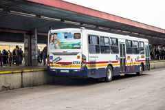 Bus Terminal. Porto Alegre, RS, Brazil, October 04, 2016. Bus and passengers inside the Parobe Bus Terminal, next to the Municipal Public Market, in downtown Stock Photo