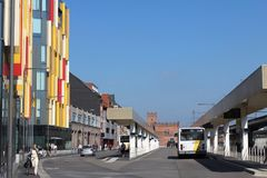 Bus Terminus, Aalst, Belgium. AALST, BELGIUM, 27 JUNE 2018: View of the main bus terminus in Aalst, East Flanders, which is situated next to the train station stock image