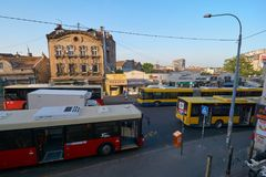 Bus terminus in Belgrade. Belgrade, Serbia - May 03, 2018: Bus terminus on Jug Bogdanova street in the morning Royalty Free Stock Photography