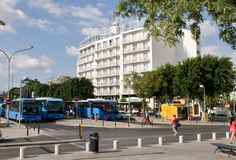 At the bus terminus in Nicosia Stock Photos