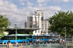 At the bus terminus in Nicosia. The bus terminus in Nicosia in the background hotel Holiday Inn Royalty Free Stock Photo