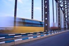 Bus throught the bridge Royalty Free Stock Photography