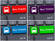 Bus ticket button with bus icon Royalty Free Stock Images
