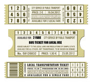 Bus ticket set Stock Image