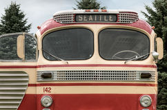 Bus  142 to Seattle. Vintage bus front Royalty Free Stock Photo