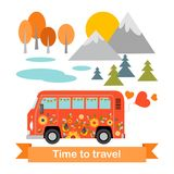 Bus tour. Cartoon hippie bus on a landscape background Stock Photo