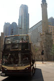 Bus tour in Chicago on the road. Chicago, IL - September 06: Bus tour on September 06, 2015 in Chicago. Popular bus tour in downtown of Chicago, USA Stock Photography