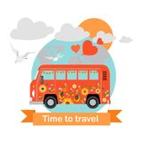 Bus tour. Funny vector illustration of a cartoon bus. Stock Photos