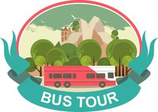 Bus Tour Label Royalty Free Stock Photography