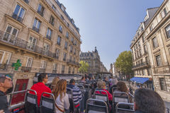On the bus tour in Paris Stock Photo