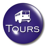 Bus Tours Button Orb sign Royalty Free Stock Photos