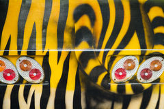 Bus tours in the zoo paint a tiger patterns Royalty Free Stock Images