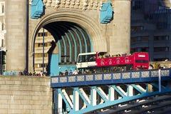 Bus on Tower Bridge, London Stock Photo