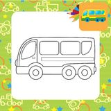 Bus toy. Coloring page Stock Photo