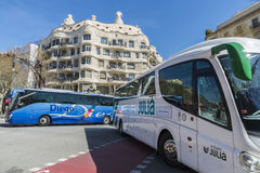 Bus traffic in Barcelona Royalty Free Stock Photo